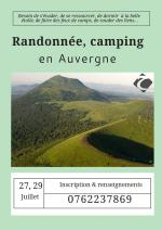 Randonnée, camping le week-end du 27 Juillet